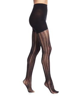 Case in Pointelle Patterned Tights, Very Black