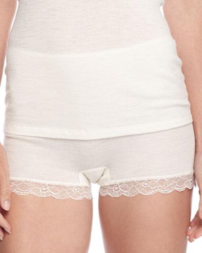 Woolen Lace Boy-Leg Briefs, Pale Cream