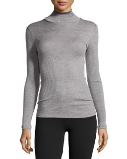 Leontine Long-Sleeve Turtleneck Top, Silver
