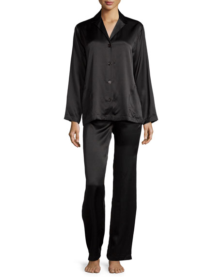 Silk Long-Sleeve Pajama Set, Black