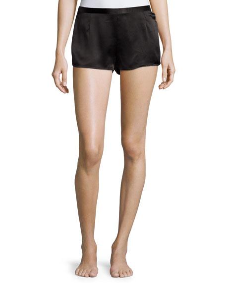 Silk Side-Button Lounge Shorts, Black