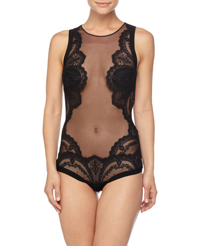 Desire Neoprene Bodysuit, Black