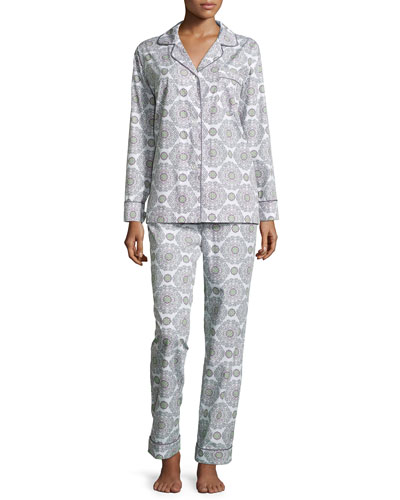 Medallion-Print Long Pajama Set, Cream/Pink