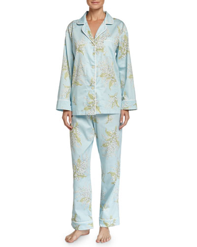 Lily of the Valley Classic Sateen Pajama Set, Turquoise