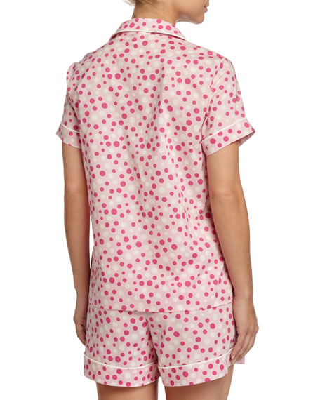 Dot-Print Shorty Pajama Set, Pink/White