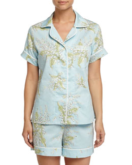 Lily of the Valley Shorty Pajama Set, Turquoise, Women's