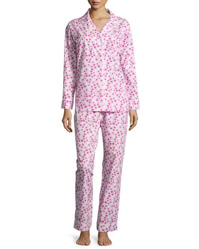 Polka-Dot Long Pajama Set, Pink/White, Women's