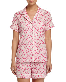 Dot-Print Shorty Pajama Set, Pink/White, Women's