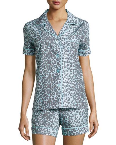 Wild Thing Shorty Pajama Set, Gray/Aqua, Women's