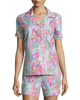 Sergeant Pepper Shorty Pajama Set, Pink/Turquoise, Women's