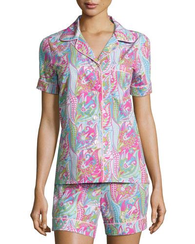 Sergeant Pepper Shorty Pajama Set, Pink/Turquoise, Women's