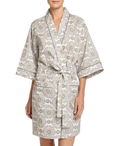 Medallion Kimono Robe, Cream/Pink