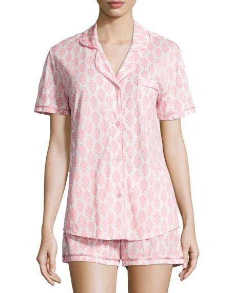 Bella Brocade-Printed Shorty Pajama Set, White/Pink