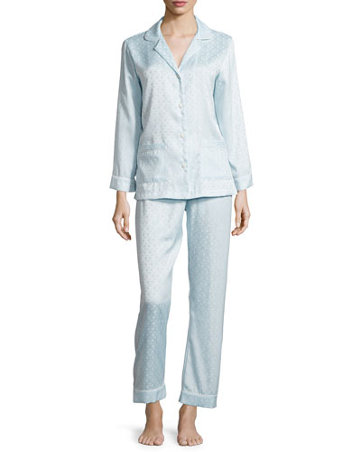 Brushed-Back Satin Jacquard Long Pajama Set, Glacier Blue