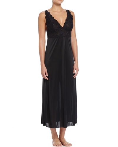 Slinky Lace-Front Long Gown, Black
