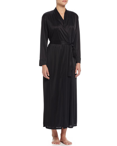 Slinky Long Wrap Robe, Black