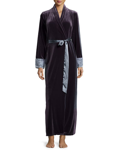 Moonlight Velvet Long Wrap Robe, Slate