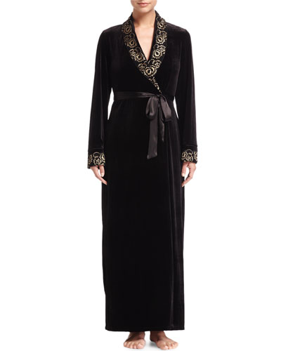 Vivian Velvet Long Wrap Robe, Black/Gold