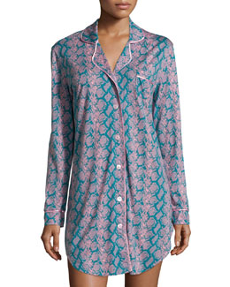 Bella Button-Front Printed Nightshirt
