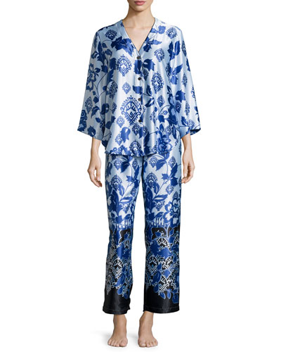 Floral-Print Long Pajama Set, Blue Chandelier