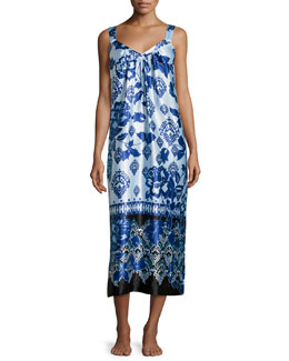 Floral V-Neck Sleeveless Gown, Blue Chandelier