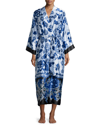 Floral-Print Long Wrap Robe, Blue Chandelier