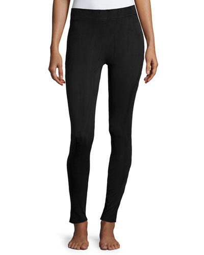 Faux-Suede Velour Leggings, Black