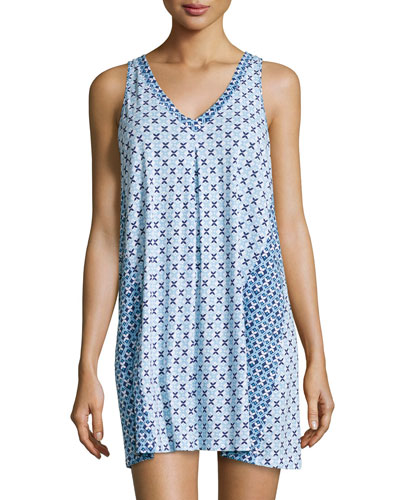 Printed Sleeveless V-Neck Chemise, Blue Tile