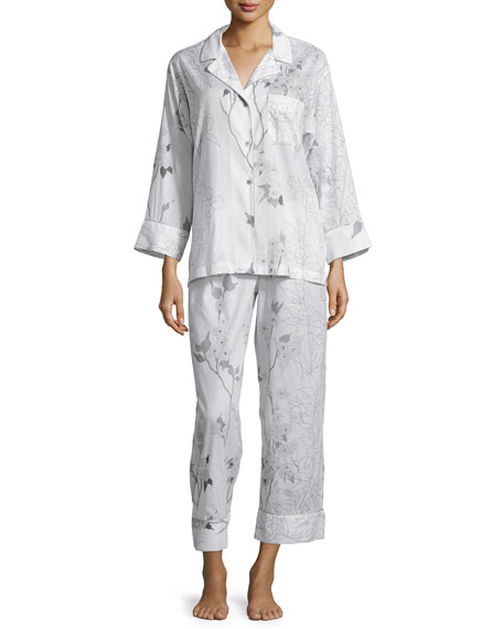 Sakura Floral-Print Long-Sleeve Pajama Set, White