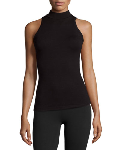 Talco Jersey Turtleneck Layering Top, Black