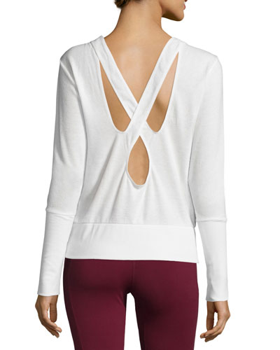 Flux Long-Sleeve Crisscross-Back Sport Top, Natural