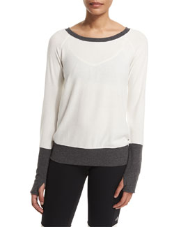 Colorblock Slouchy Long-Sleeve Sport Top