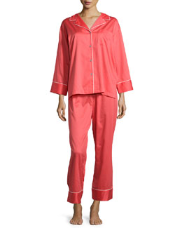 Solid Sateen Two-Piece Pajama Set, Duchess Rose
