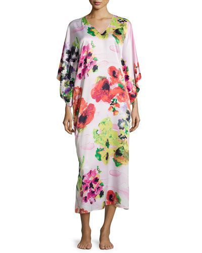 Waterspring Floral-Print Long Caftan, Pink Multi