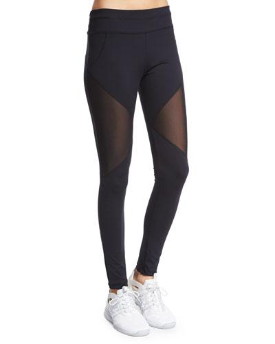 Bicknell Sport Leggings W/Mesh Inset, Black