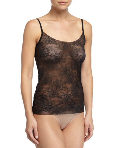 Weightless Sheer-Lace Camisole, Black