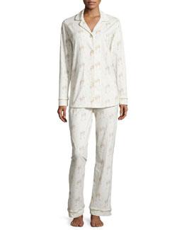 Classic Champagne-Print Pajama Set