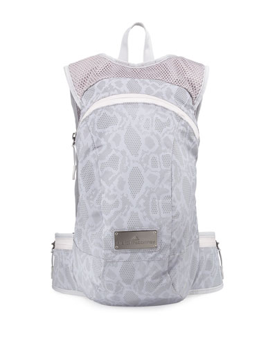 Snake-Print Tech-Fabric Backpack, Reflective Silver