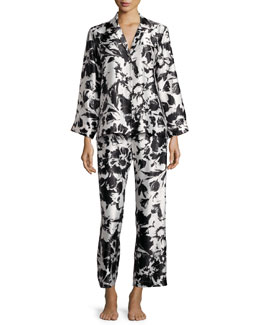 Floral Pajama Set, Black Pattern