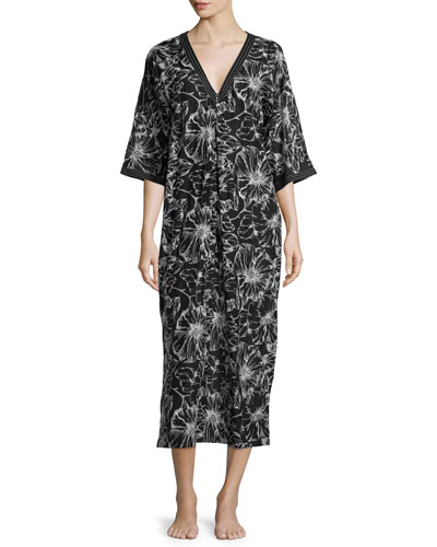 Embroidered Floral-Print Zip Caftan, Black Pattern