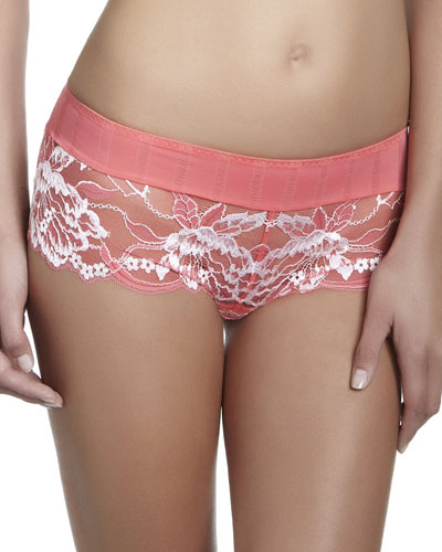 Amour Lace Boyshorts, Coral