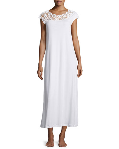 Eva Lace-Trim Long Gown, White