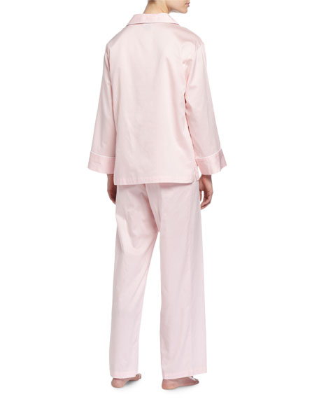 Solid Sateen Two-Piece Pajama Set, Blush Pink