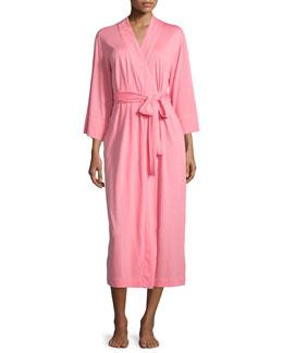 Shangri La Long Jersey Robe, Pink