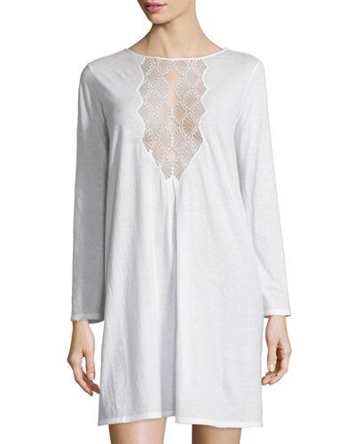 Tranquility Lace-Inset Sleepshirt, White