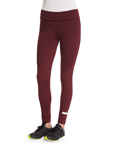 Performance Fold-Waist Leggings, Maroon