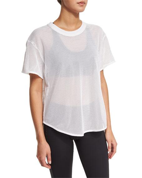 Short-Sleeve Mesh Athletic Tee, White