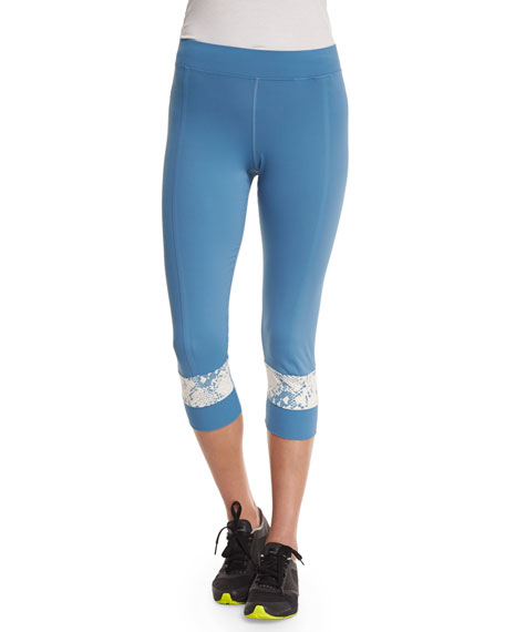 Run Cropped Leggings, Chino Blue