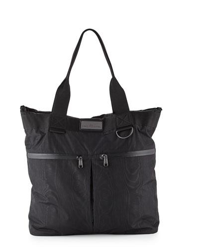Moire-Print Big Sports Bag, Black