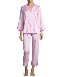 Cotton Sateen Pajama Set W/Piping, Tea Rose